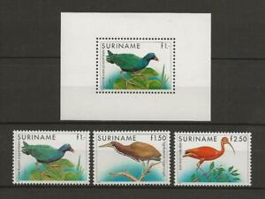 SURINAME 1985 BIRD STAMPS SET AND SOUVENIR SHEET MNH TOP3