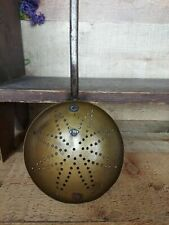 New listing Early American Brass Ladle Strainer & Wrought Iron Handle with Flower Design