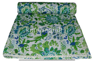 Indian Embroidery Kantha Quilt Bedspread Floral Throw Cotton Green