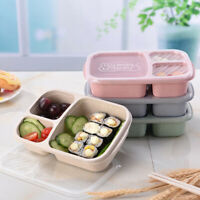 JW_ 3 Compartments Lunch Box Food Storage Container for Kids Adults Picnic Net