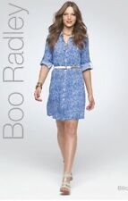 NEW BOO RADLEY Blue White Printed Shirt Dress - AU 16 US 12 One 4 Summer Season