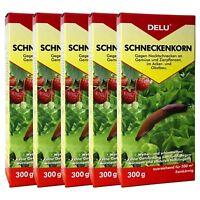 DELU Schneckenkorn 5 x 300 g - Nacktschnecken Bekämpfung Schnecken Schneckengift