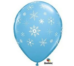 12 Qualatex Blue /w Snowflakes Latex Balloons Frozen Christmas Winter Party