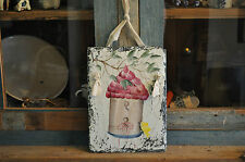 Primitive Hand Painted Birdhouse Vintage Slate Rag Tie Whimsical Folk Art