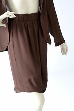 Elaine Kim chiffon skirt sheer brown asymmetrical knee length skirt size 2