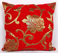 Saybil Red Luxury Floral Chenille Cushion Cover with Gold Floral Design 18x18