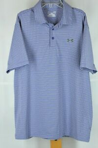 Under Armour Loose Men's Purple & Gray Striped Poly Blend Golf Shirt L Large