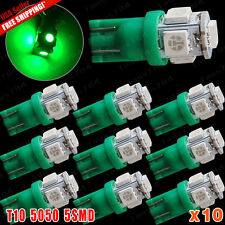 10 X Green T10 SMD Led Interior/License Plate Light Bulbs 5050 W5W 168 194 2825