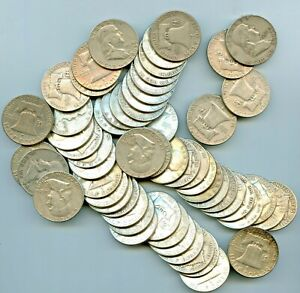 3 ROLLS OF 90% Silver Franklin Half Dollar Coins in Coin Tube