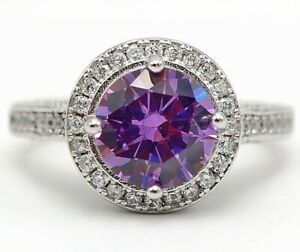 Top Quality 4CT Amethyst & Topaz 925 Sterling Silver Ring Jewelry Sz 6, M13