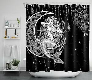 Black White Moon Star Mermaid Dreamcatcher BoHo Shower Curtain Bathroom Decor