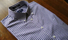 Gant size L The Gingham Fitted Men's Casual Shirts Striped Purple&White NEW