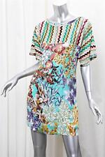 MISSONI Womens Colorful Floral Print Short Sleeve Above Knee Shift Dress 42/6
