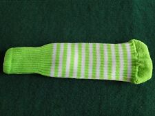 Knitted zebra style Fairway & Driver Golf Club head cover Lime Green / White