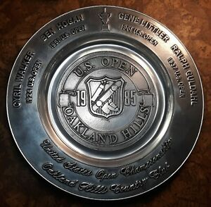 """1985 U.S. Open Golf Championship at Oakland Hills 12"""" Pewter Plate"""