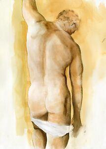 Rutile watercolor painting 1/25/50 #ArtofEsteban Watercolor FREE SHIP nude male