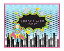 Personalized Super Hero Girl Theme Sign Birthday Party Decoration