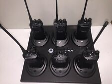 6 Motorola CP200 UHF 4Ch Radios With Batteries & Gang Charger
