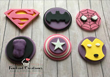 6 Handmade Edible Sugarpaste Girls MARVEL/SUPERHERO MIX Cupcake Toppers Pink