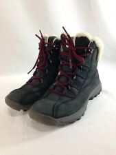 Timberland Boots Womens 7 M Black Leather Suede Lace Up Sherpa Lined