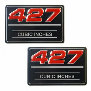 2x Chevrolet 427 Cubic Inches Valve Cover Metal Insert Decal GM # 12393651 Pair
