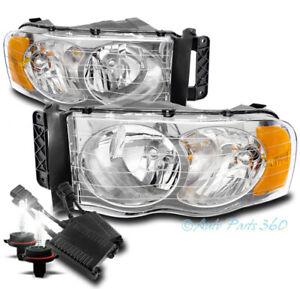 For 02-05 Dodge Ram 1500/03+ 2500 3500 Headlights Lamp Chrome w/50W 8K Xenon HID