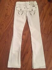 Miss Me Womens Sz 25 x 33 White Jeans Boot Cut Angel Wings Sequins JP5082B15