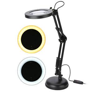LED Lupenleuchte Lupenlampe USB Tisch Standlampe 3-Fache Vergrößerung Schwarz