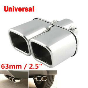 63mm Universal Chrome Stainless Steel Car Rear Dual Exhaust Tail Pipe Muffler