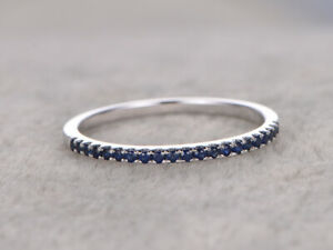 0.25 Ct Round Engagement Blue Sapphire Eternity Ring 14K Solid White Gold Size 5