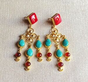 Handmade Matte Gold Polish Coral Turquise Red Onyx Earring-E13-010-7
