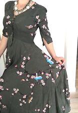 JAASE WOMENS DESIGNER DRESS Floral Print Maxi Rayon Buttons Elastic Waist Sz S