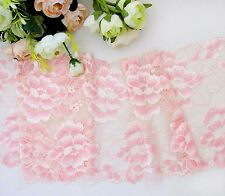 19 cm width Exquisite Light Salmon Pink Stretch Lace Trim