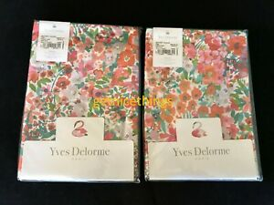 Yves Delorme Millefiori 2 Standard Shams Red White Multi Floral Cotton Percale