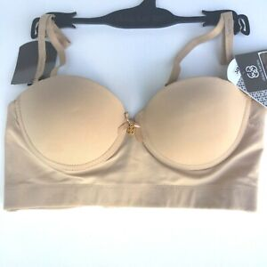 NWT Daisy Fuentes Hourglass Convertible Longline Bra DF837-1 Nude Size 34C