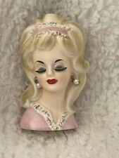 """Vintage Pink Lady Head vase Pink Headband 4 1/2"""" Enesco"""