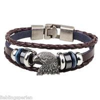 L/P 1 Braun Adlerkopf Geflochten Armband Lederarmband Wickelarmband Geschenk