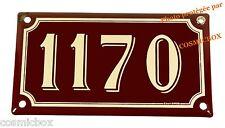 Plaque émaillée bordeaux crème NUMERO de RUE 1170 émail enamel plate street numb