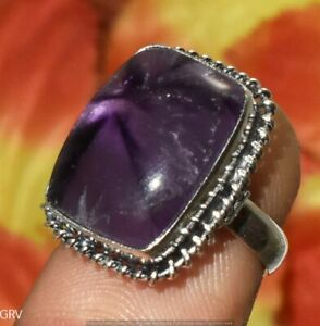 """Natural Amethyst Gemstone Ring 925 Sterling Silver Plated Us Size 6"""" U394-A154"""