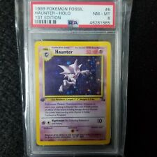 1ST EDITION HOLO PSA 8 HAUNTER 1999 POKEMON CARD NM FOSSIL SET WOTC TCG # 6/62