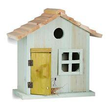 Relaxdays Nichoir À oiseaux en bois forme de Maison avec Porte et Fenêtre Hxlx