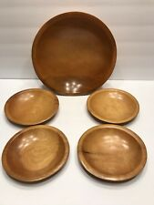 "Vintage Wooden Munising Signed Large 11"" Bowl With 4-6-1/4"" Wood Salad Bowls EUC"