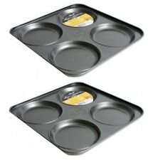 2 x 4 Cup Carbon Steel Non Stick Shallow Yorkshire Pudding Baking Tray 23 x 2cm