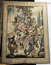 "French Goblys Wall Hanging Tapestry Flowers Garden Scene Scene Large 78"""