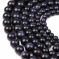 "16"" Natural Blue Sand Stone Round Spacer Loose Beads Findings Craft 4/6/8/10MM"