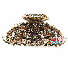 New Woman's metal Brown color rhinestone flowers hair claw clips pin 8002