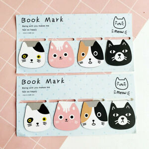 Funny Cute Cats Magnetic Bookmarks School Office Supplies Stationery 4Pcs /Set