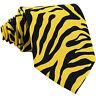 New Vesuvio Napoli Polyester Men's Neck Tie necktie animal zebra print yellow