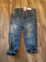 New- Mud Pie ~ Blue Navy Flannel Lined Jeans Boys Pants Size 9-12 Months