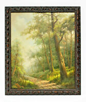 Country Path Road  20 x 24 Art Oil Painting on Canvas w/ Rustic Wood Frame